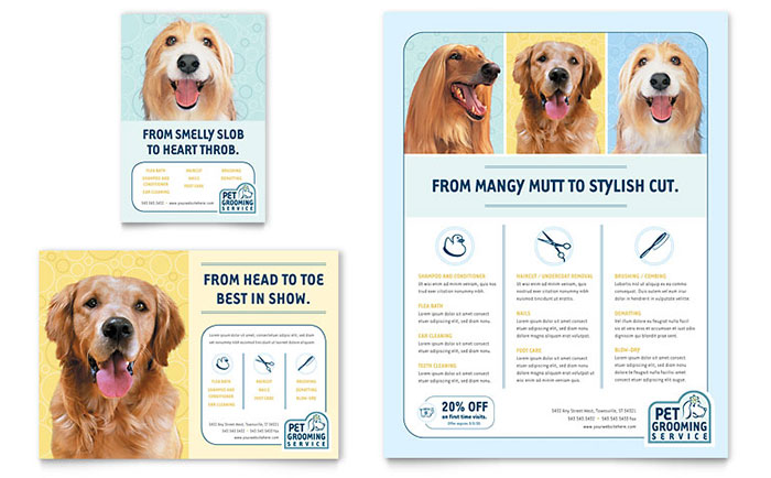 Pet Grooming Service Flyer & Ad Template Design - InDesign, Illustrator, Word, Publisher, Pages