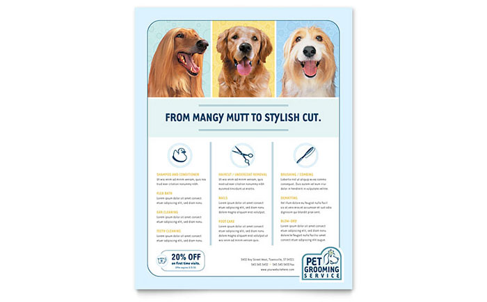 Pet Grooming Service Flyer Template Design Download - InDesign, Illustrator, Word, Publisher, Pages