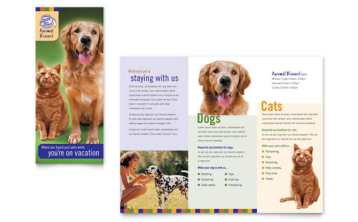 Dog Kennel Amp Pet Day Care Brochure Template Design