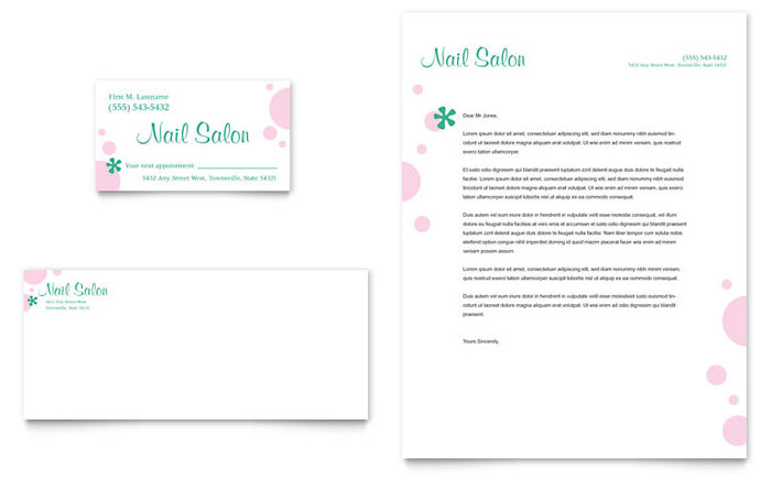 Nail Salon Business Card & Letterhead Template Design Download - InDesign, Illustrator, Word, Publisher, Pages