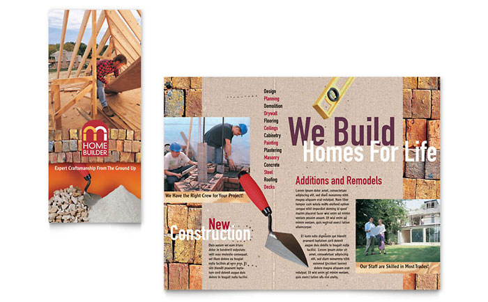 home builder contractor brochure template design