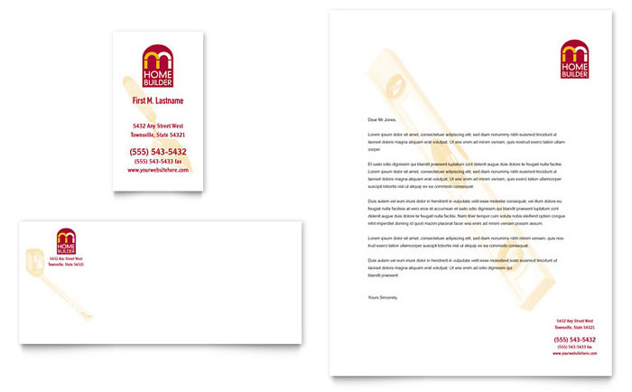 home builder  u0026 contractor business card  u0026 letterhead template design