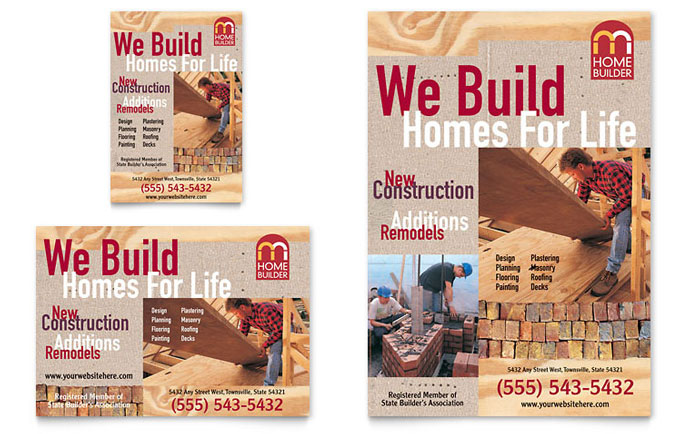 Home builder contractor flyer ad template design Home builder contractor