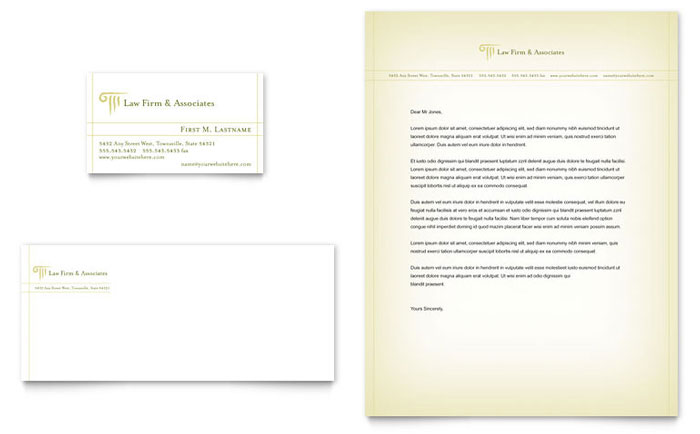 Attorney legal services business card letterhead for Law office letterhead template free