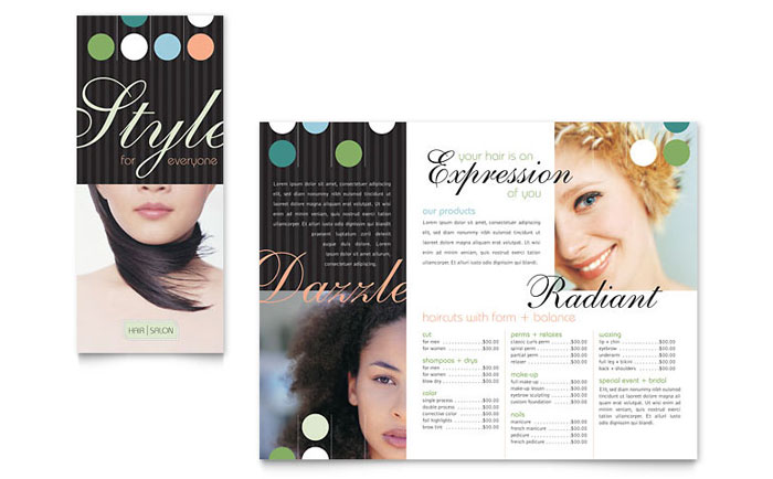 Beauty Hair Salon Brochure Template Design - Hair salon brochure templates