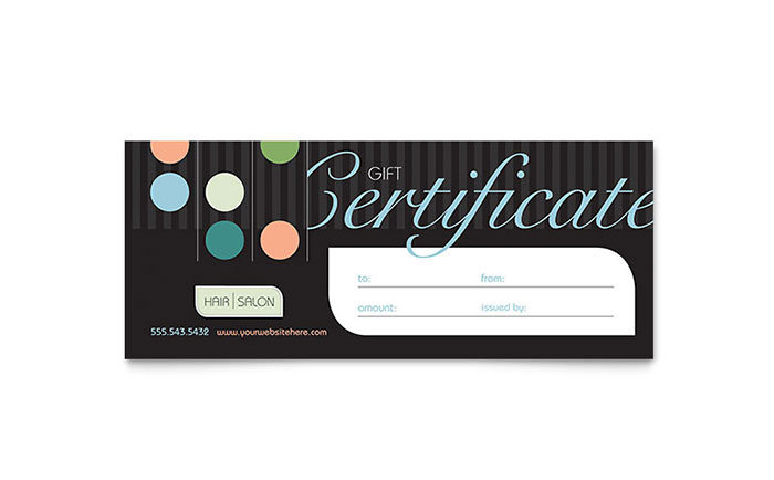 Beauty hair salon gift certificate template design for Free printable hair salon gift certificate template