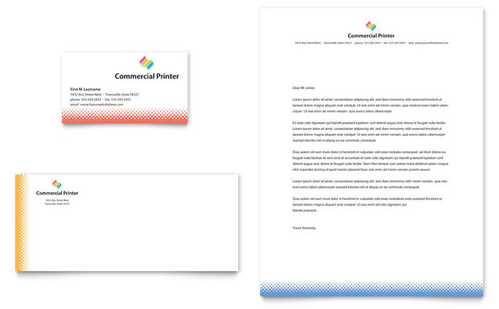 Commercial Printer Business Card & Letterhead Template Design Download - InDesign, Illustrator, Word, Publisher, Pages