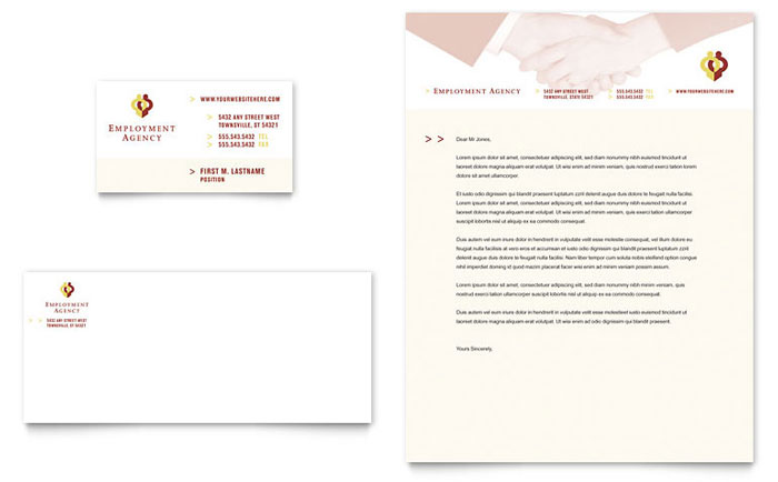 employment agency jobs fair business card letterhead template design