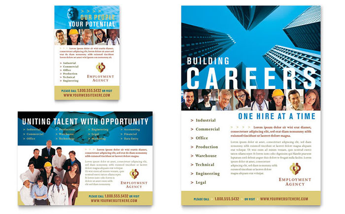 employment agency jobs fair flyer ad template design