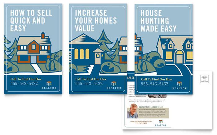 real estate agent postcard template design
