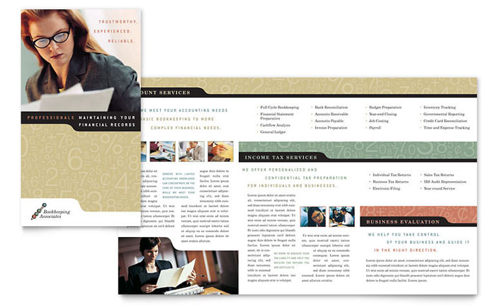 Bookkeeping accounting services brochure template design for Free bookkeeping brochure templates
