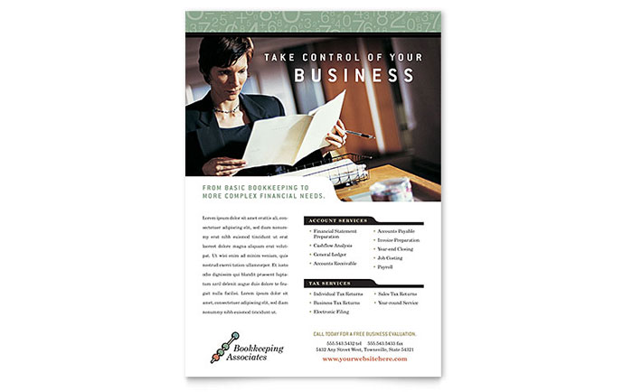 Accounting bookkeeping flyers templates designs financial bookkeeping accounting services flyer pronofoot35fo Gallery