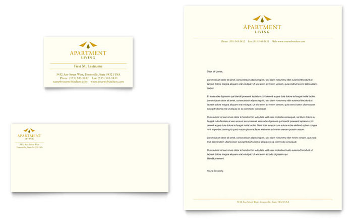 Apartment Living Business Card & Letterhead Template Design - InDesign, Illustrator, Word, Publisher, Pages