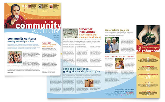 Community non profit newsletter template design for Free online newsletter templates pdf