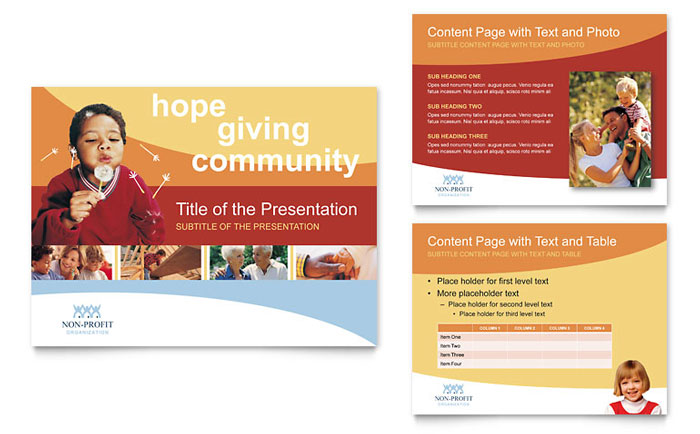 community non profit powerpoint presentation template design, Presentation templates