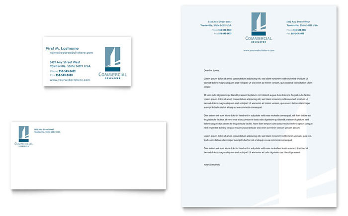 Commercial Developer Business Card & Letterhead Template Design