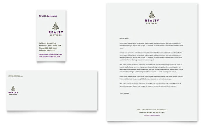 Realty Services Business Card & Letterhead Template Design