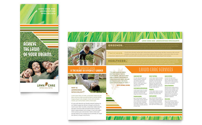Lawn Care & Mowing Brochure Template Design Download - InDesign, Illustrator, Word, Publisher, Pages