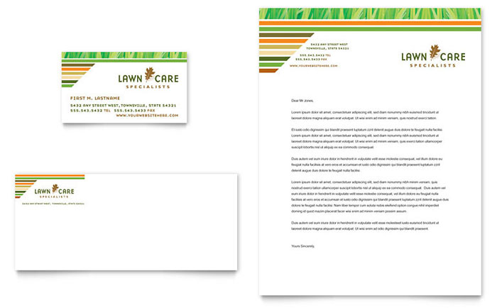 Lawn Care & Mowing Business Card & Letterhead Template Design