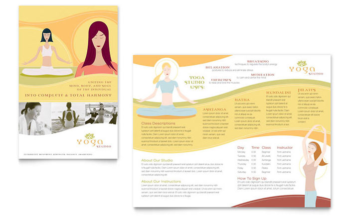 yoga instructor studio brochure template design