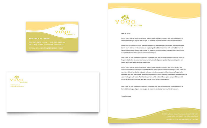 Yoga Instructor & Studio Business Card & Letterhead Template Design Download - InDesign, Illustrator, Word, Publisher, Pages