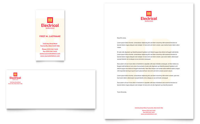 Electrical Services Business Card Letterhead Template Design