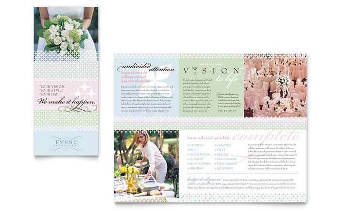 wedding event planning brochure template design