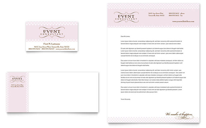 Wedding Event Planning Business Card Letterhead Template Design - Wedding business card template