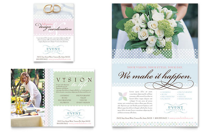 Wedding & Event Planning Flyer & Ad Template Design - InDesign, Illustrator, Word, Publisher, Pages