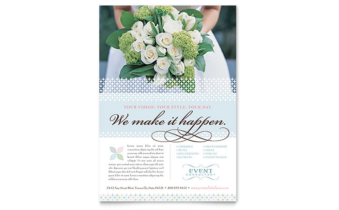 Wedding & Event Planning Flyer Template Design Download - InDesign, Illustrator, Word, Publisher, Pages