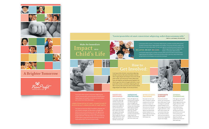 Non profit association for children brochure template design for Free brochure templates for kids