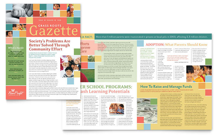 Non Profit Association for Children Newsletter Template Design Download - InDesign, Illustrator, Word, Publisher, Pages