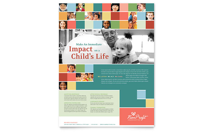 Non Profit Association for Children Flyer Template Design