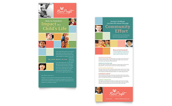 Non Profit Association for Children Rack Card Template Design Download - InDesign, Illustrator, Word, Publisher, Pages