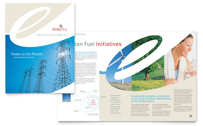 Utility energy company brochure template design for Engineering brochure templates free download