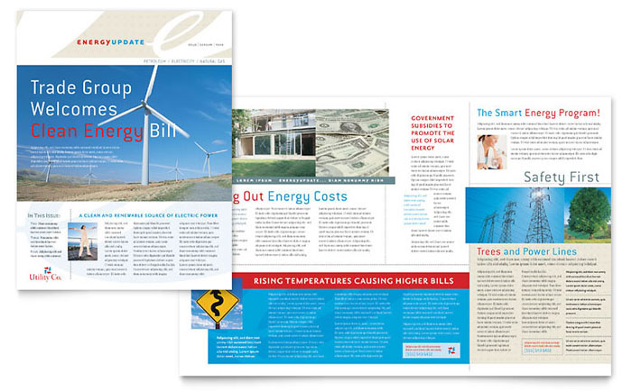 Utility  Energy Company Newsletter Template Design