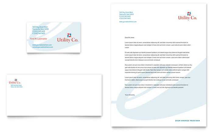 Utility & Energy Company Business Card & Letterhead Template Design Download - InDesign, Illustrator, Word, Publisher, Pages