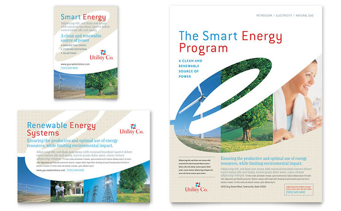 Utility & Energy Company Flyer & Ad Template Design Download - InDesign, Illustrator, Word, Publisher, Pages