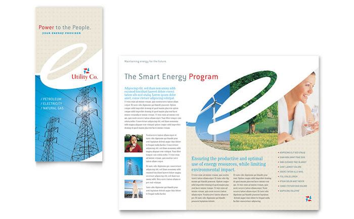 Utility & Energy Company Tri Fold Brochure Template Design - InDesign, Illustrator, Word, Publisher, Pages