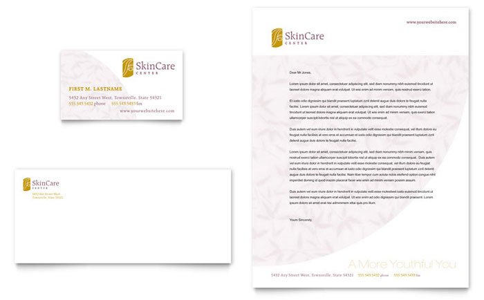 Skin Care Clinic Business Card & Letterhead Template Design Download - InDesign, Illustrator, Word, Publisher, Pages