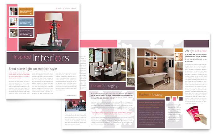 Interior designer newsletter template design for Indesign interior