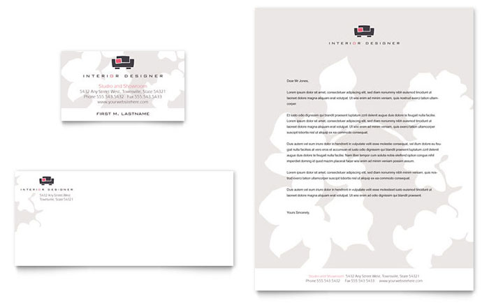 Interior Designer Business Card & Letterhead Template Design Download - InDesign, Illustrator, Word, Publisher, Pages
