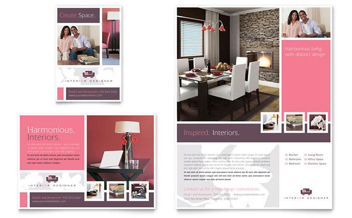 Interior designer flyer amp ad template design