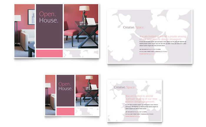 interior design brochure template free - interior designer note card template design