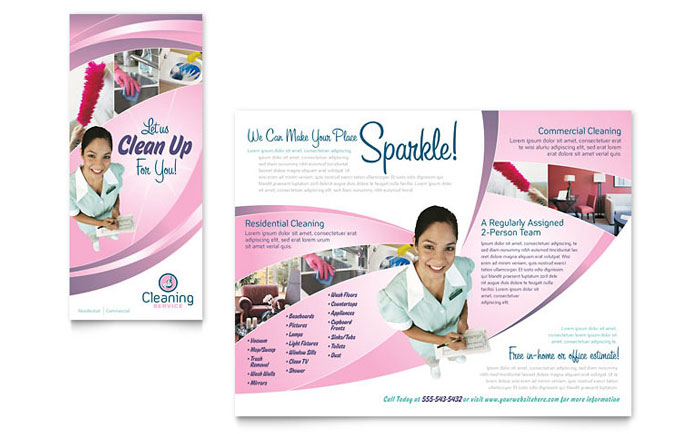 cleaning services advertising templates - house cleaning maid services brochure template design