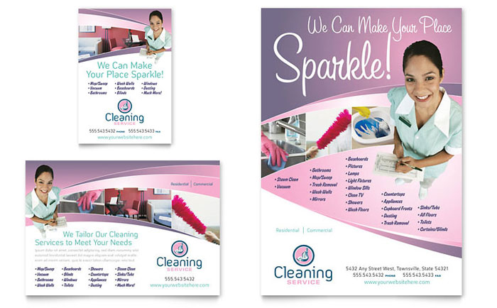 House cleaning maid services flyer ad template design for Laundry flyers templates