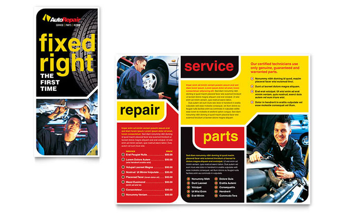 Auto Repair Brochure Template Design