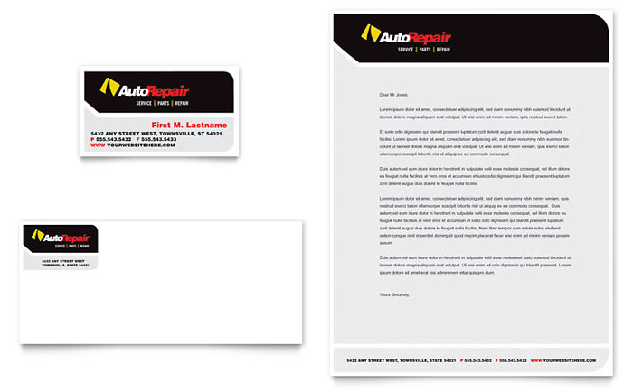 Auto Repair Business Card & Letterhead Template Design