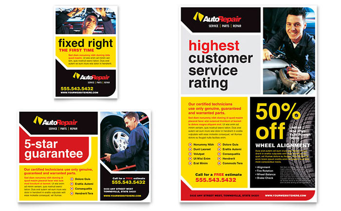 Automotive Repair Shops >> Auto Repair Flyer & Ad Template Design
