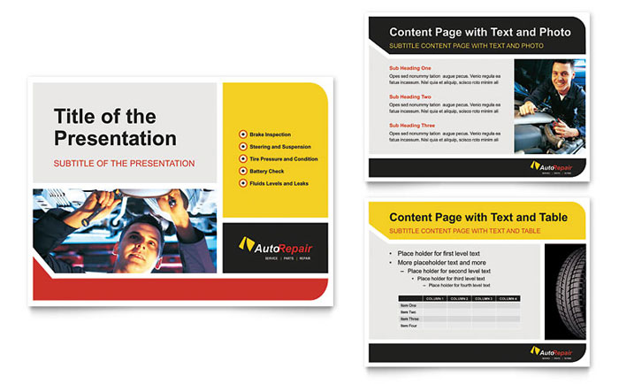 auto repair powerpoint presentation template design